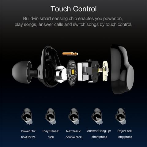 ROCK SPACE Bluetooth Touch Control Earphones with Mic & Charger Box - Frequent Needs