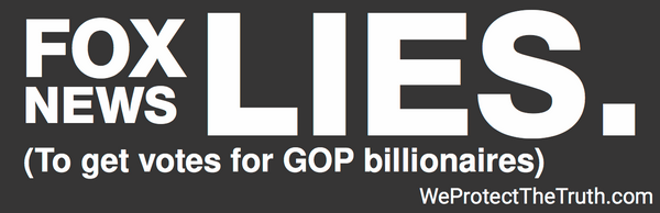 "Bumper sticker - 4-pack - ""Fox News lies - to get votes for GOP billionaires"""