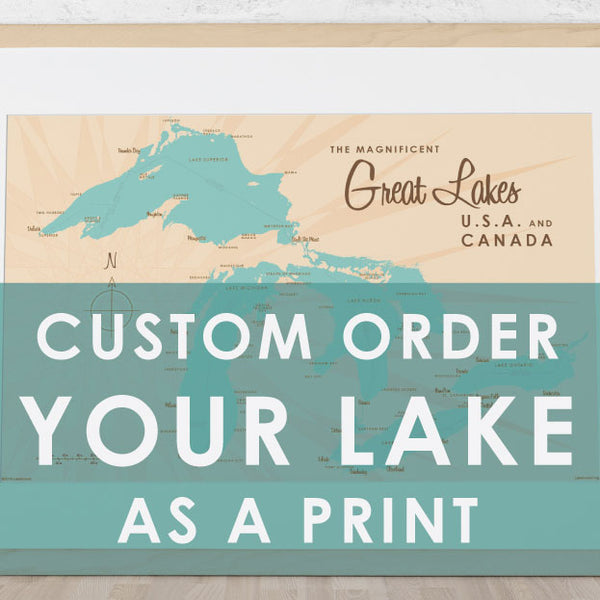 Custom Order Your Lake As a Print Map Art