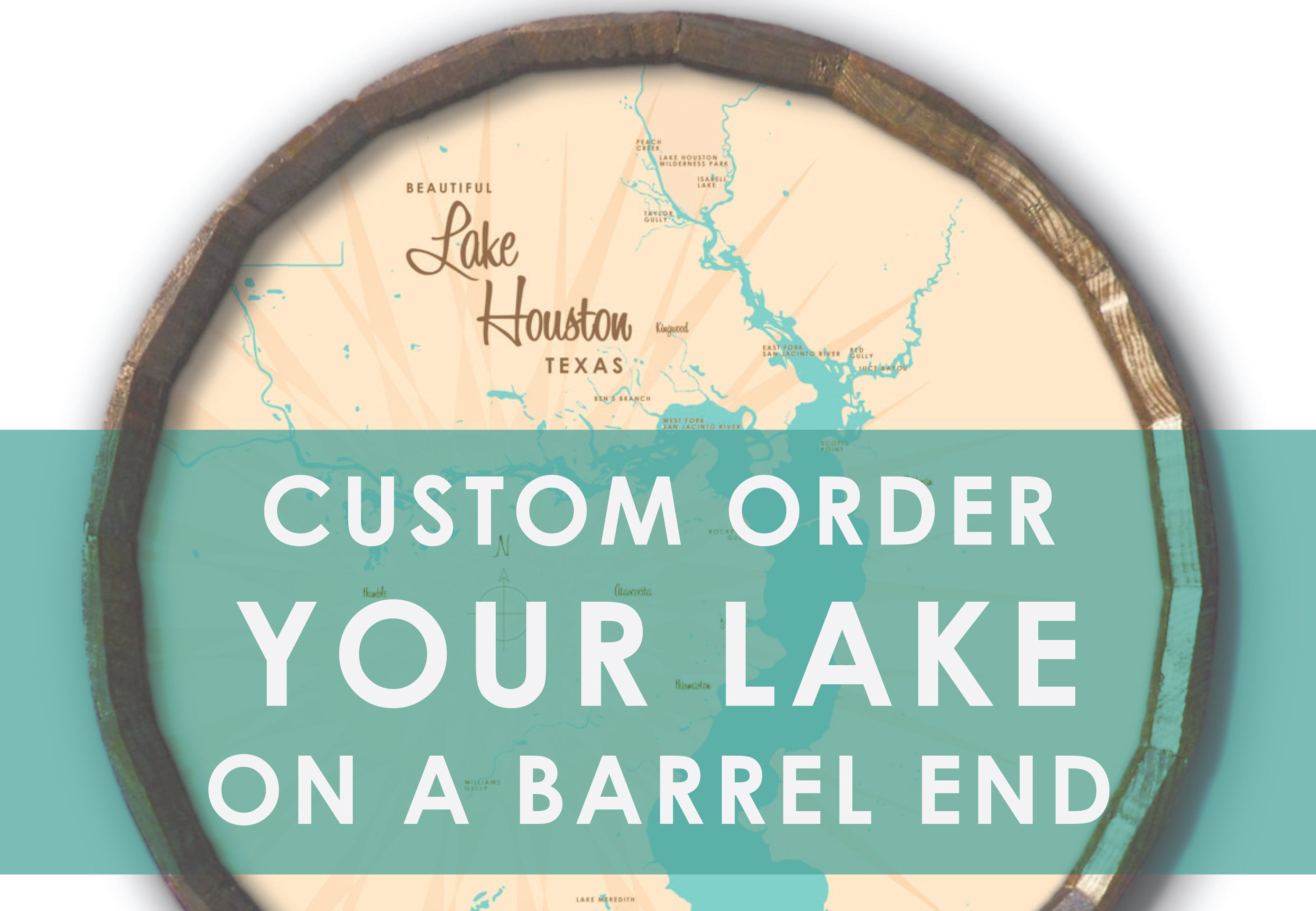 Custom Order Your Lake on a Barrel End Map Art