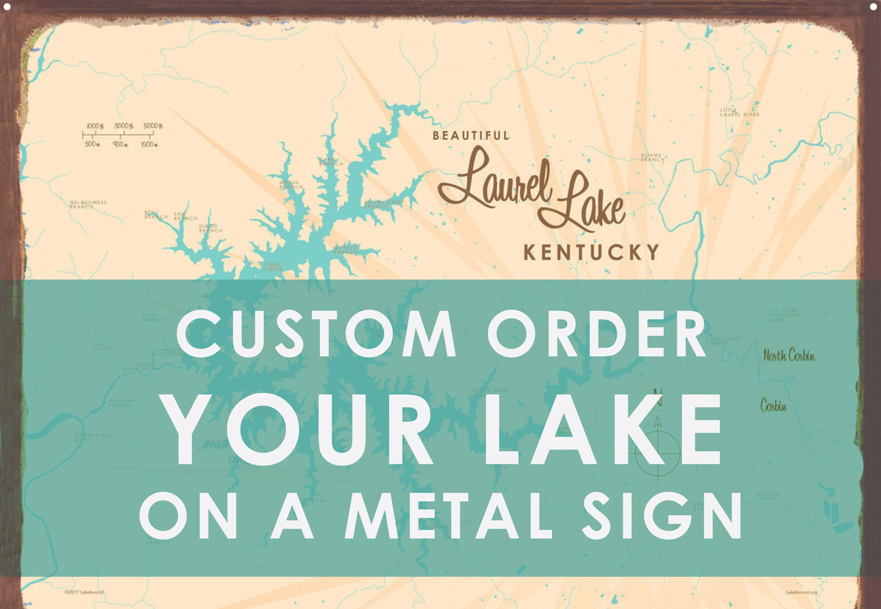 Custom Order Your Lake on a Metal Sign Map Art