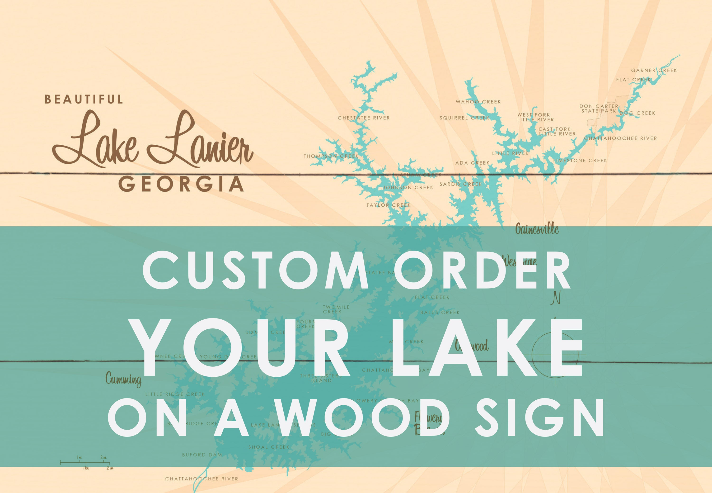 Custom Order Your Lake on a Wood Sign Map Art