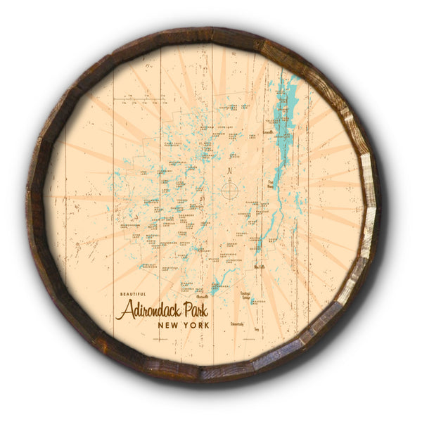 Adirondack Park, New York, Rustic Barrel End Map Art