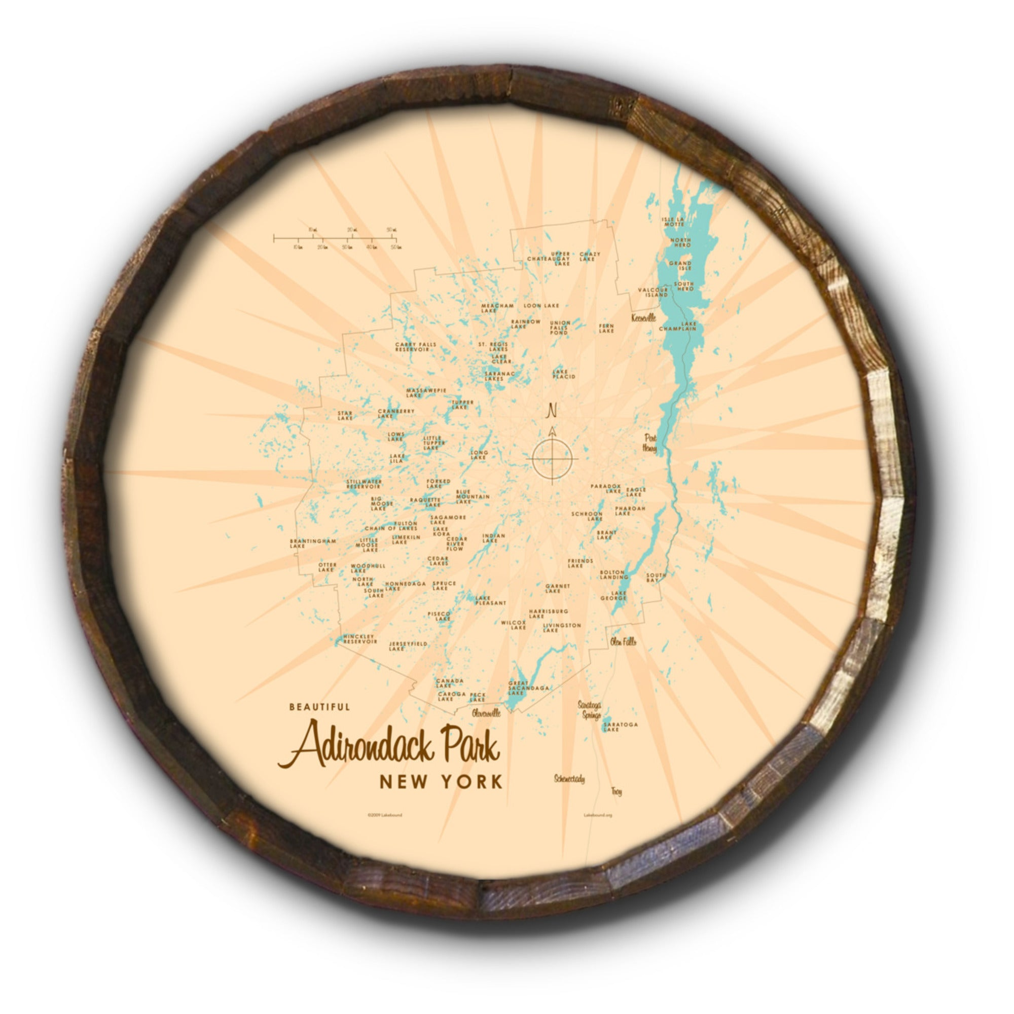 Adirondack Park New York, Barrel End Map Art