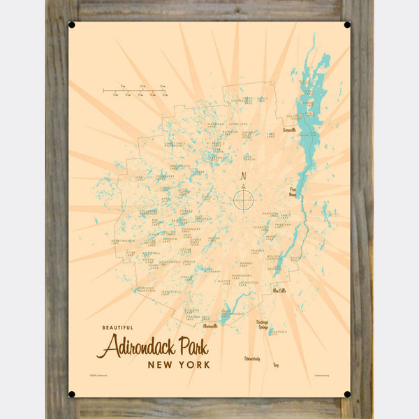 Adirondack Park, New York, Wood-Mounted Metal Sign Map Art