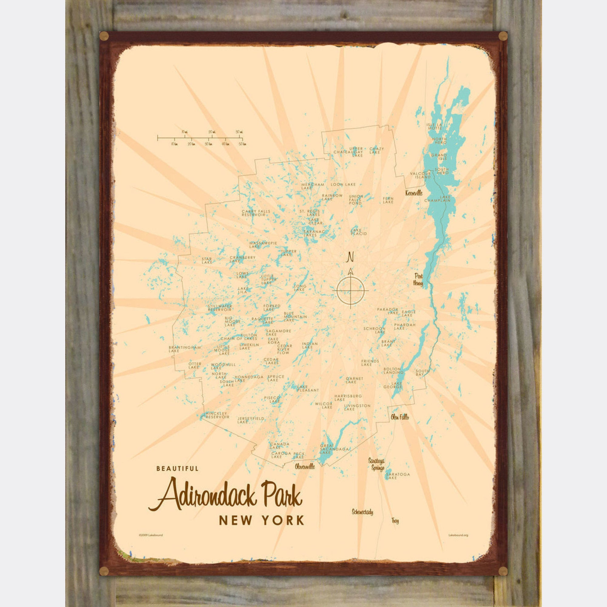 Adirondack Park, New York, Wood-Mounted Rustic Metal Sign Map Art