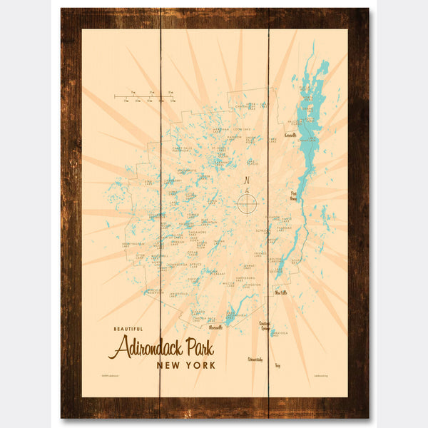 Adirondack Park, New York, Rustic Wood Sign Map Art