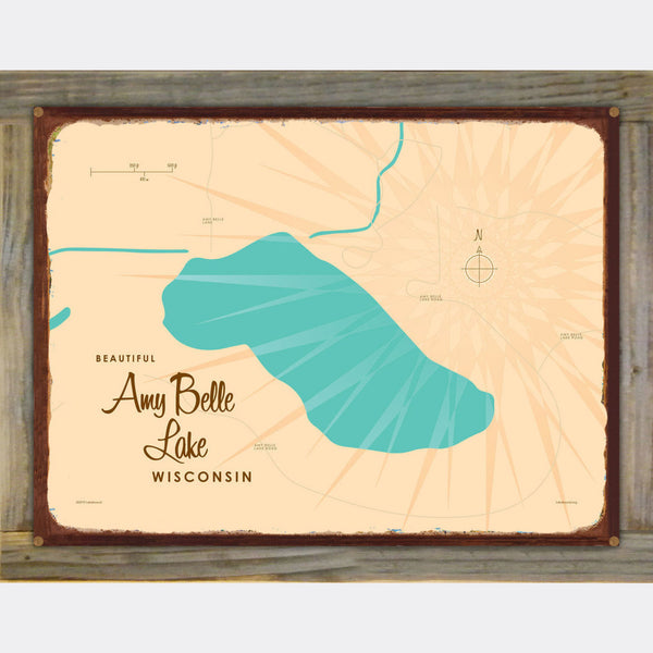 Amy Belle Lake Wisconsin, Wood-Mounted Rustic Metal Sign Map Art