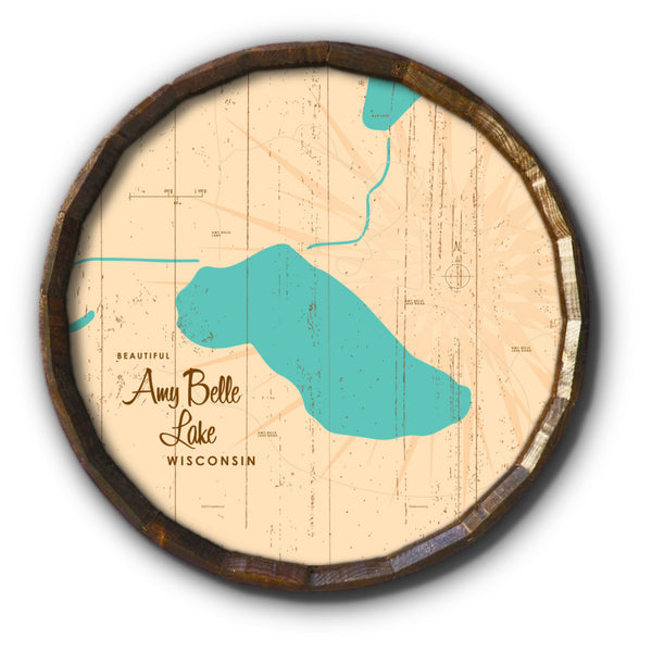 Amy Belle Lake Wisconsin, Rustic Barrel End Map Art