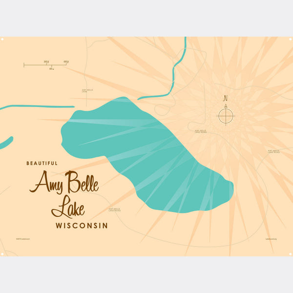 Amy Belle Lake Wisconsin, Metal Sign Map Art