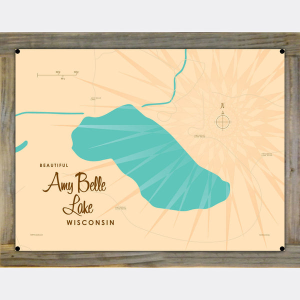 Amy Belle Lake Wisconsin, Wood-Mounted Metal Sign Map Art