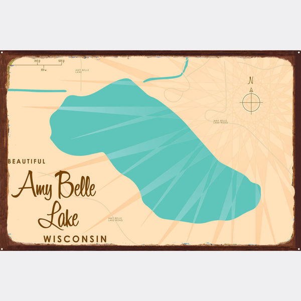 Amy Belle Lake Wisconsin, Rustic Metal Sign Map Art