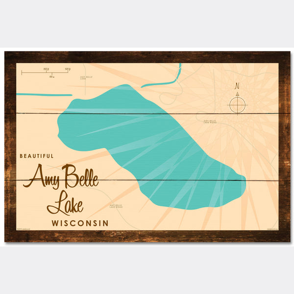 Amy Belle Lake Wisconsin, Rustic Wood Sign Map Art