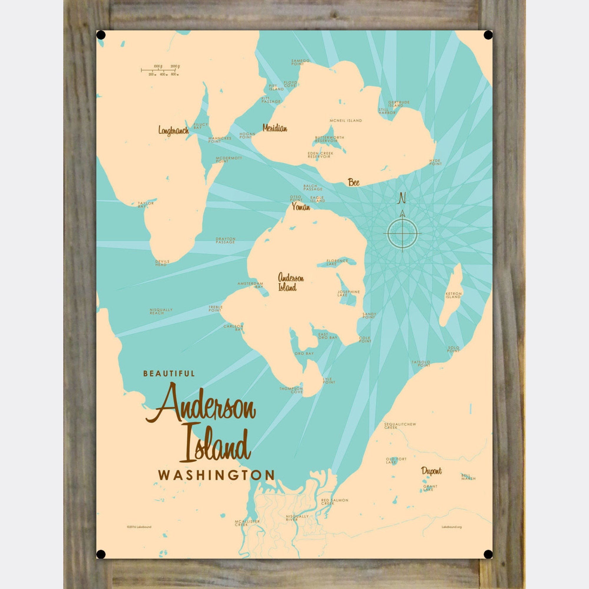 Anderson Island Washington, Wood-Mounted Metal Sign Map Art