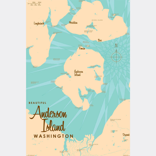 Anderson Island Washington, Metal Sign Map Art