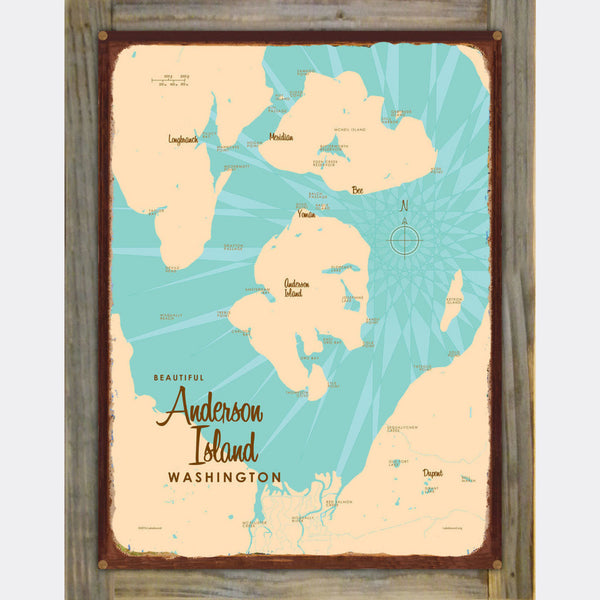 Anderson Island Washington, Wood-Mounted Rustic Metal Sign Map Art