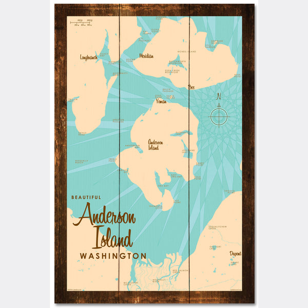 Anderson Island Washington, Rustic Wood Sign Map Art