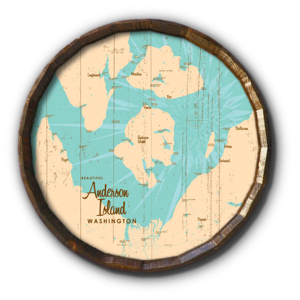 Anderson Island Washington, Rustic Barrel End Map Art