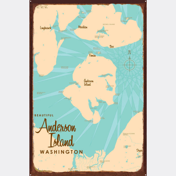 Anderson Island Washington, Rustic Metal Sign Map Art