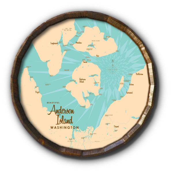 Anderson Island Washington, Barrel End Map Art