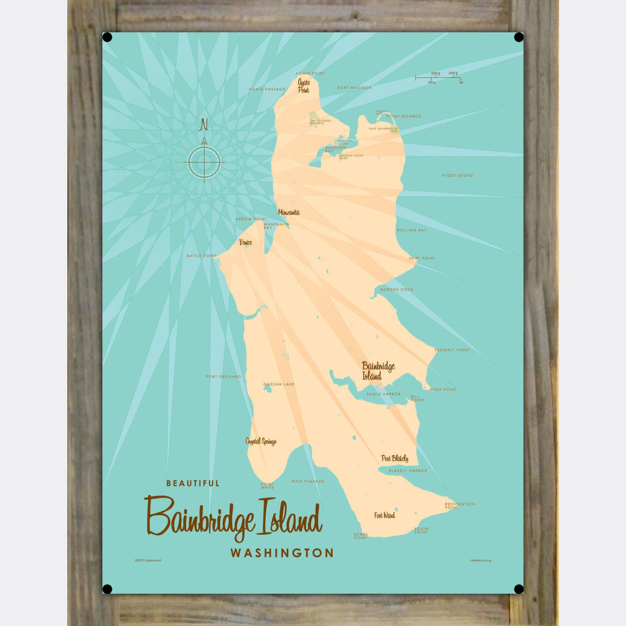 Bainbridge Island Washington, Wood-Mounted Metal Sign Map Art