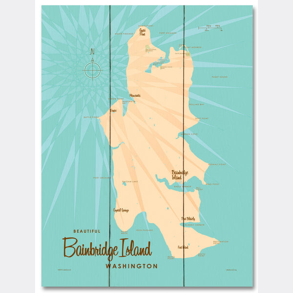 Bainbridge Island Washington, Wood Sign Map Art