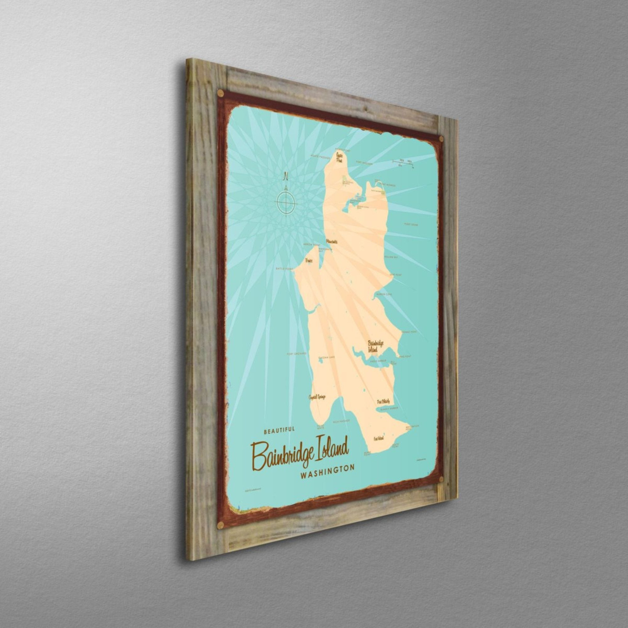 Bainbridge Island Washington, Wood-Mounted Rustic Metal Sign Map Art