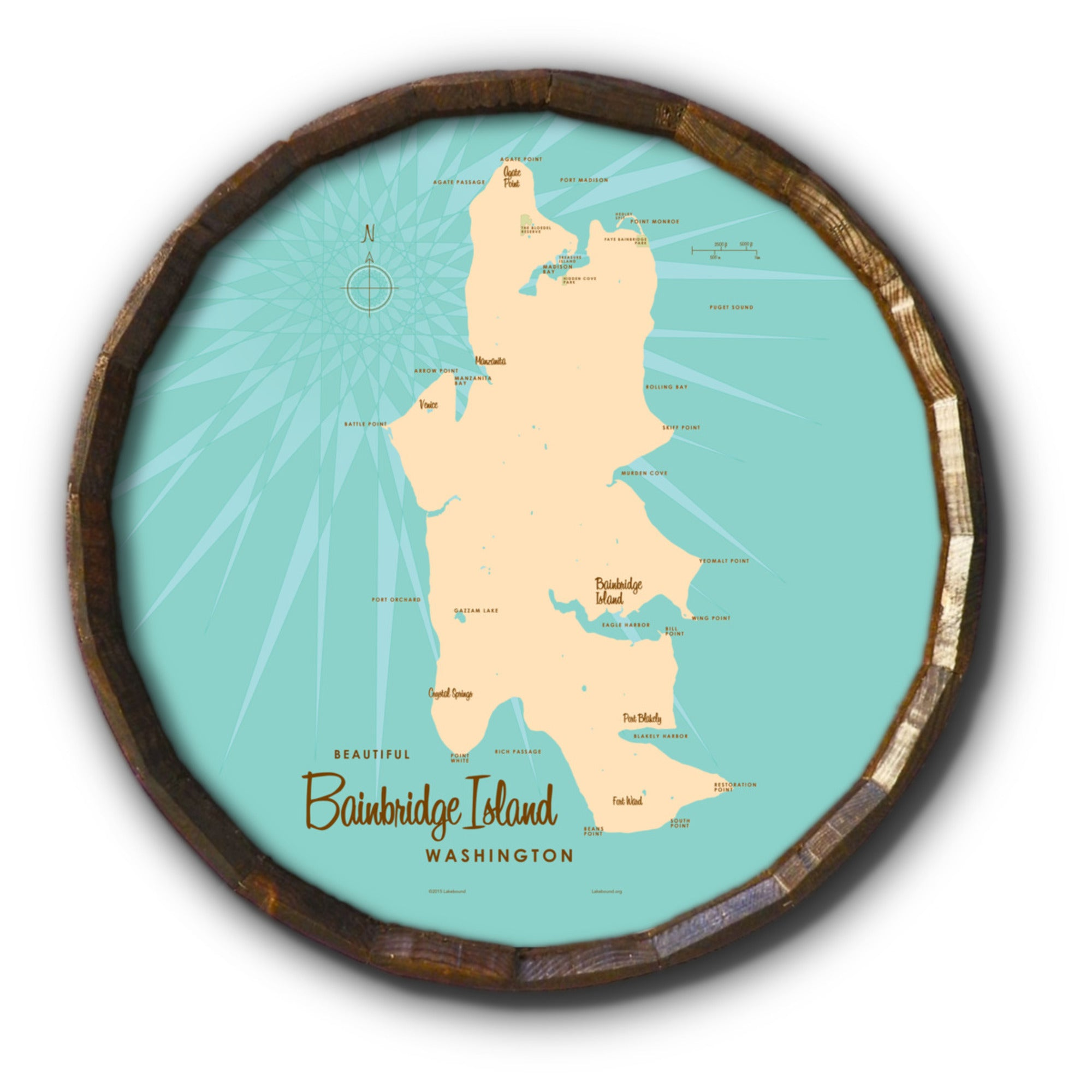 Bainbridge Island Washington, Barrel End Map Art
