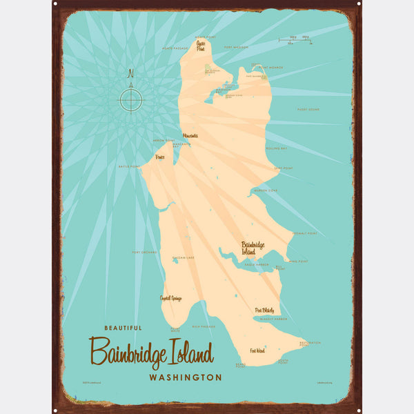 Bainbridge Island Washington, Rustic Metal Sign Map Art
