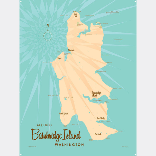 Bainbridge Island Washington, Metal Sign Map Art