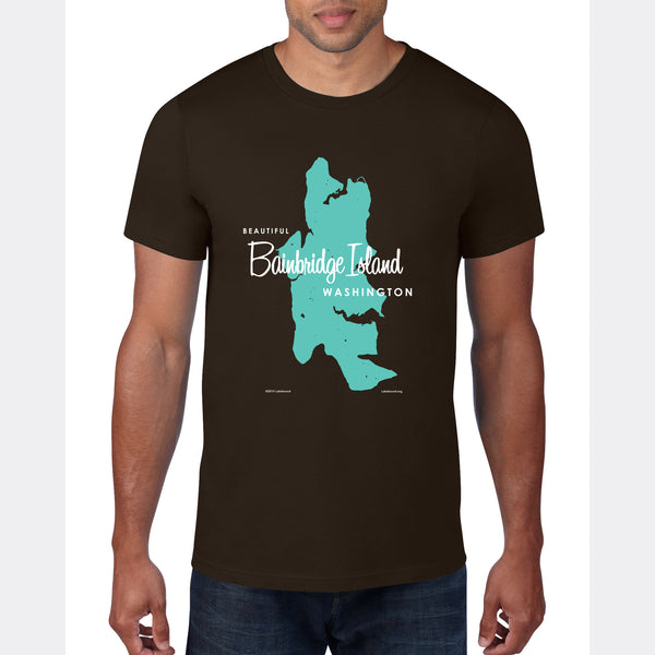 Bainbridge Island Washington, T-Shirt Map Art