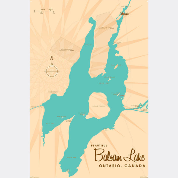 Balsam Lake Ontario, Metal Sign Map Art