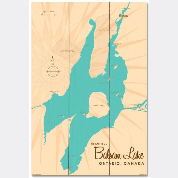 Balsam Lake Ontario, Wood Sign Map Art