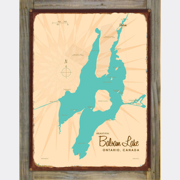 Balsam Lake Ontario, Wood-Mounted Rustic Metal Sign Map Art