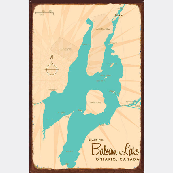 Balsam Lake Ontario, Rustic Metal Sign Map Art
