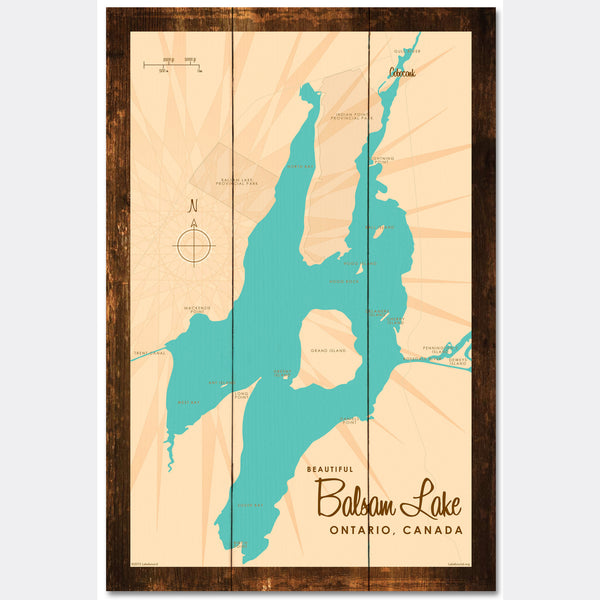 Balsam Lake Ontario, Rustic Wood Sign Map Art
