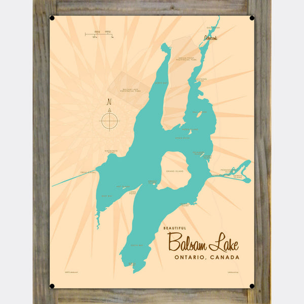 Balsam Lake Ontario, Wood-Mounted Metal Sign Map Art