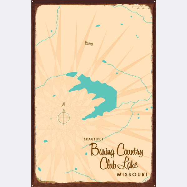Baring Country Club Lake Missouri, Rustic Metal Sign Map Art