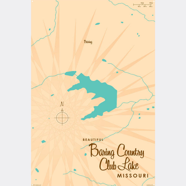 Baring Country Club Lake Missouri, Metal Sign Map Art