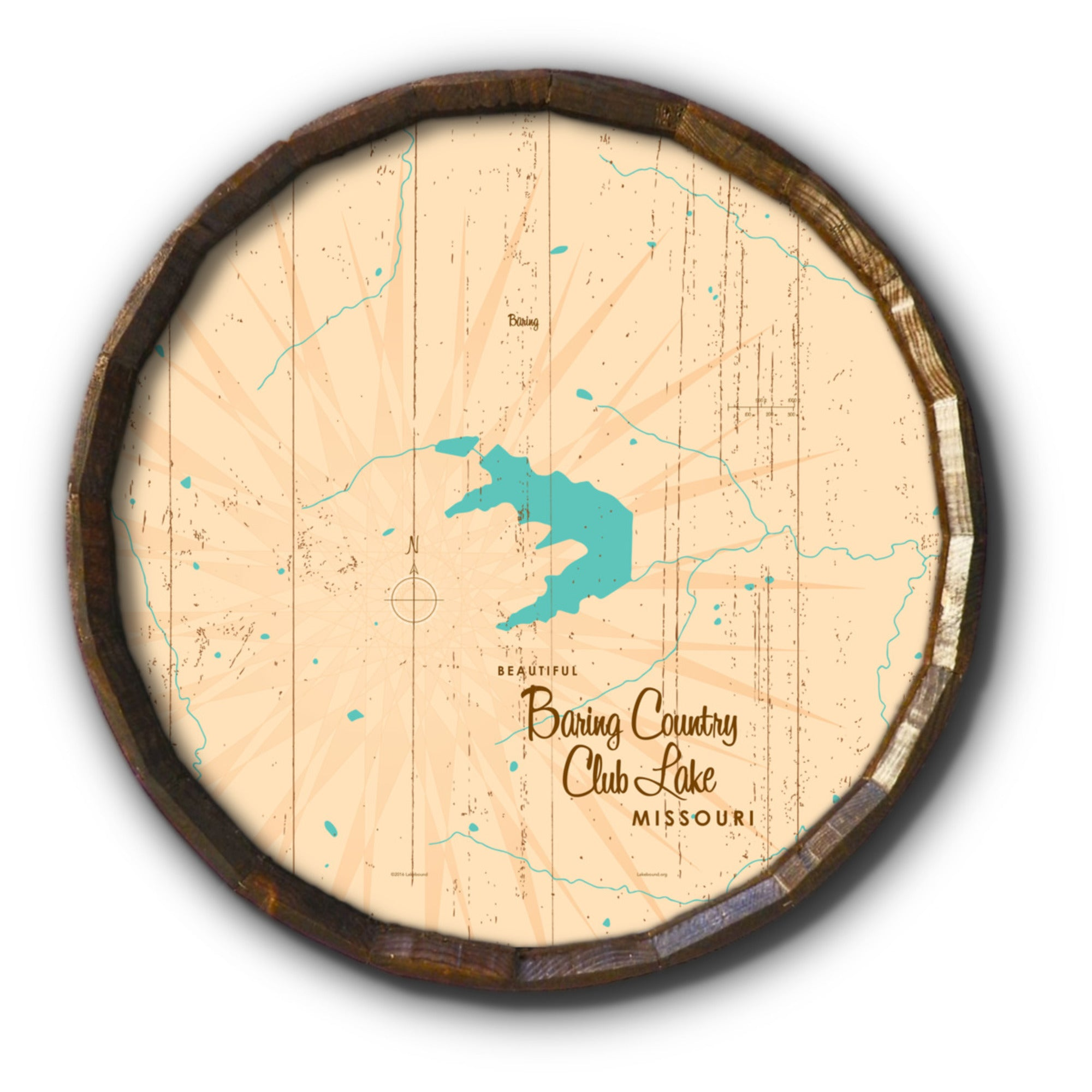 Baring Country Club Lake Missouri, Rustic Barrel End Map Art