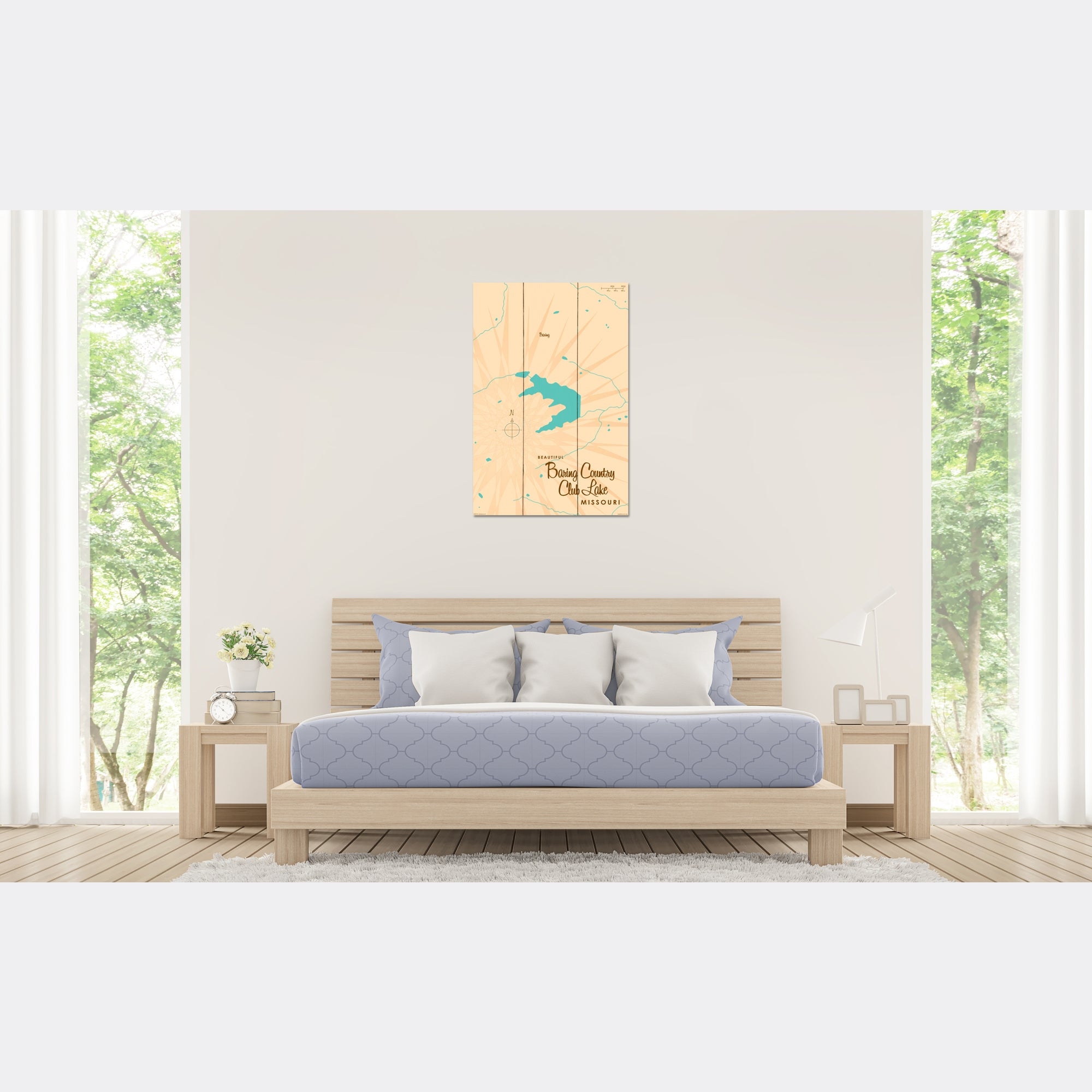 Baring Country Club Lake Missouri, Wood Sign Map Art