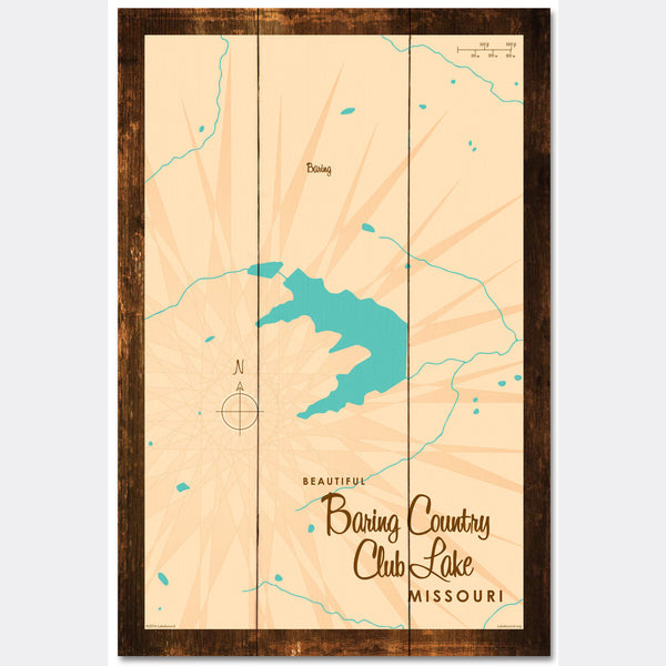 Baring Country Club Lake Missouri, Rustic Wood Sign Map Art