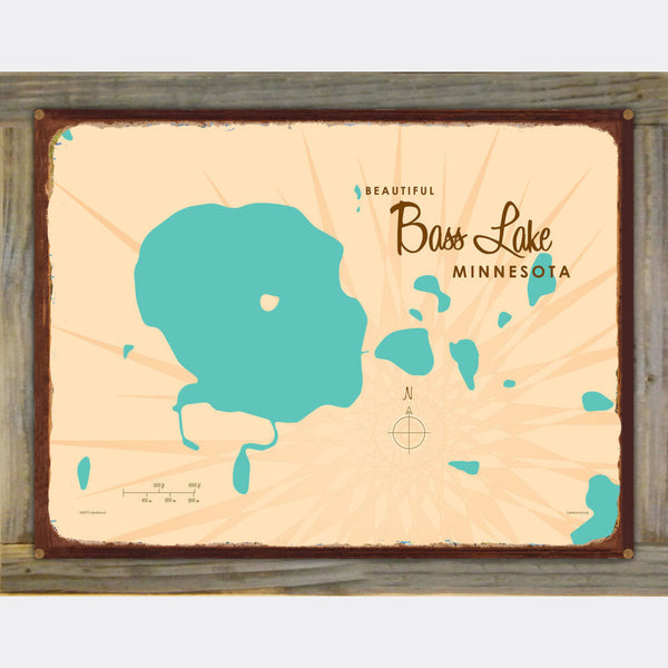 Bass Lake Minnesota, Wood-Mounted Rustic Metal Sign Map Art