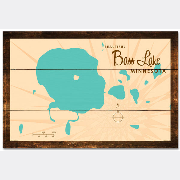 Bass Lake Minnesota, Rustic Wood Sign Map Art