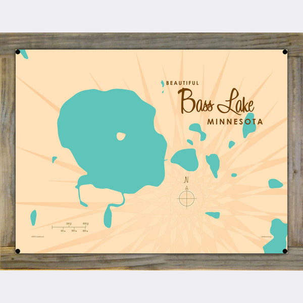 Bass Lake Minnesota, Wood-Mounted Metal Sign Map Art