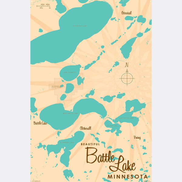 Battle Lake Minnesota, Metal Sign Map Art