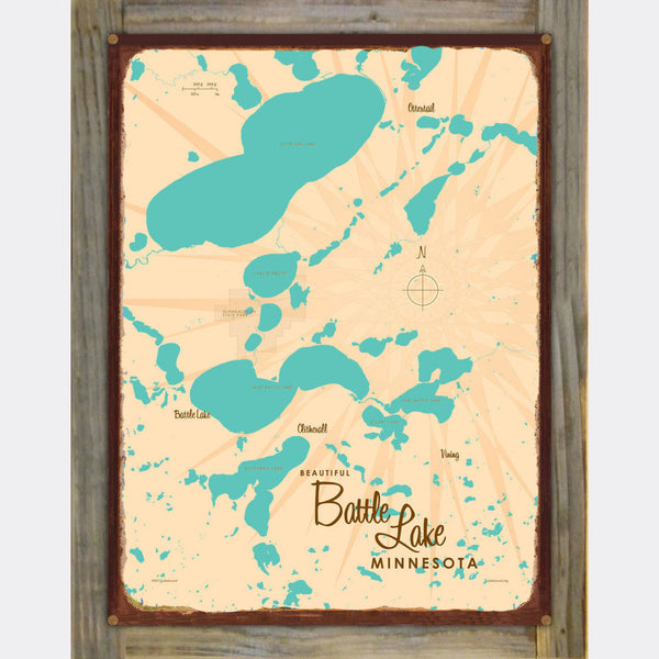 Battle Lake Minnesota, Wood-Mounted Rustic Metal Sign Map Art