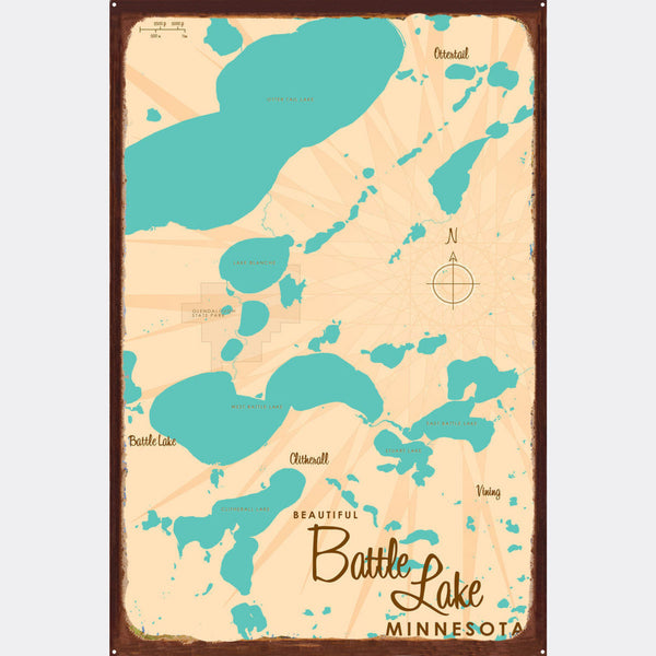 Battle Lake Minnesota, Rustic Metal Sign Map Art