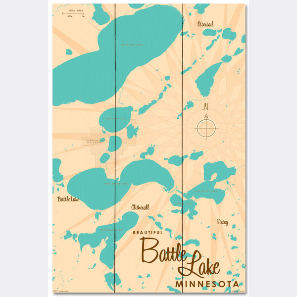 Battle Lake Minnesota, Wood Sign Map Art