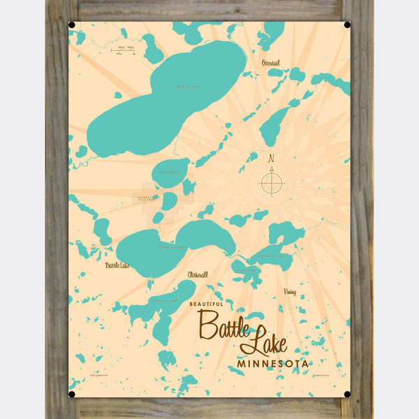 Battle Lake Minnesota, Wood-Mounted Metal Sign Map Art